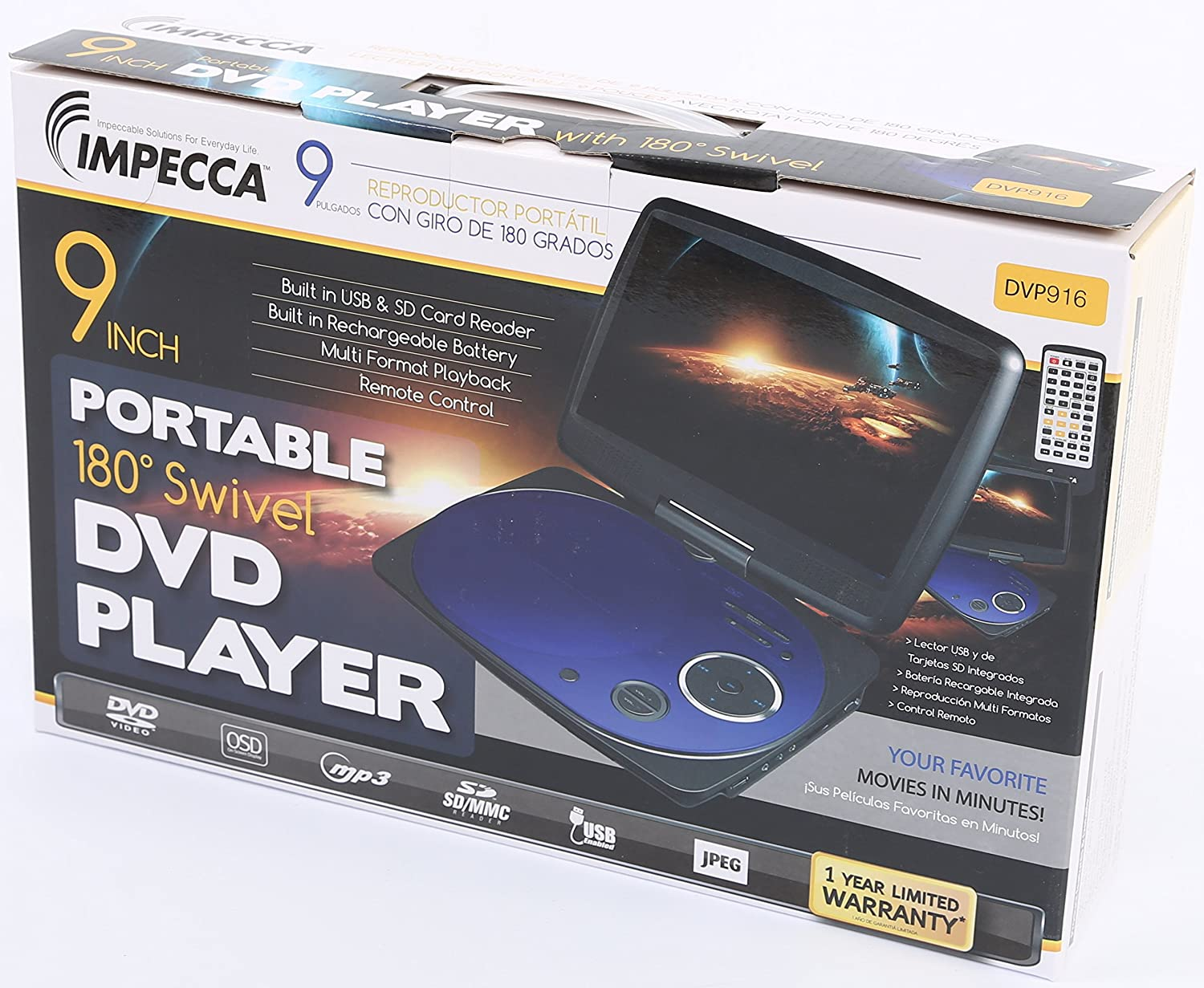 Impecca DVP916B 9 Inch Swivel Screen, Portable DVD Player with Rechargeable Battery, SD Card Slot and USB Port, Blue