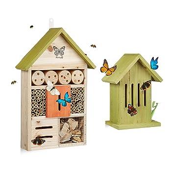 2 Tlg Insektenhotel Set Schmetterlingshaus Holz
