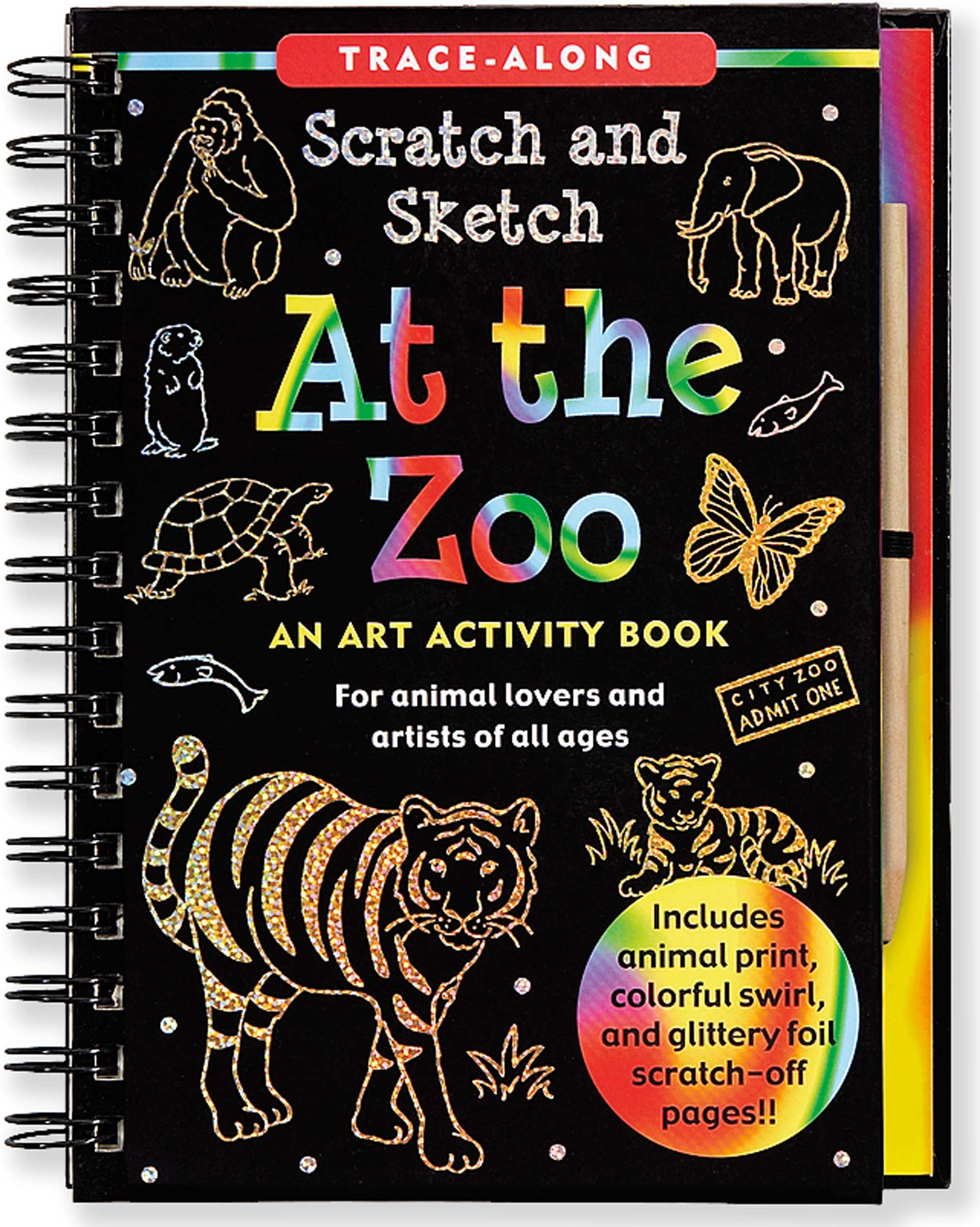 At the zoo scratch sketch an art activity book for animal lovers at the zoo scratch sketch an art activity book for animal lovers and artists of all ages trace along scratch and sketch lee nemmers fandeluxe Image collections