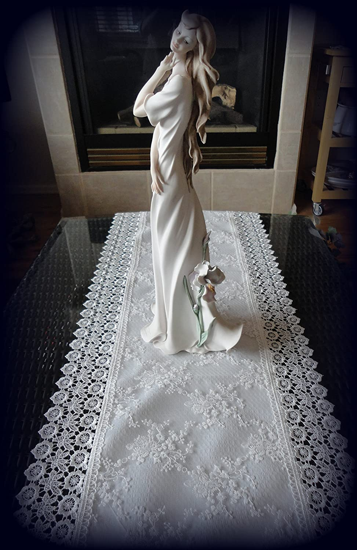 "Galleria di Giovanni 54"" Dresser Scarf Table Runner Ivory Princess Lace European Doily"