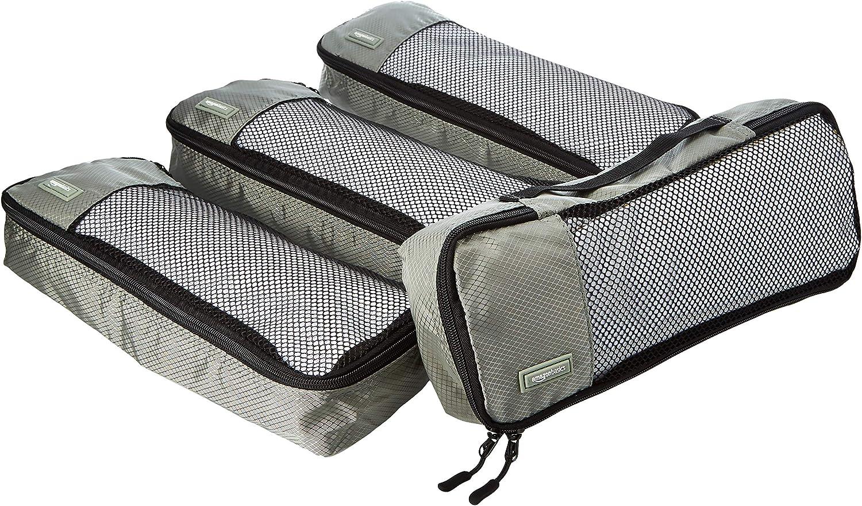 AmazonBasics - Bolsas de equipaje alargadas (4 unidades), Gris