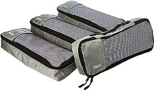AmazonBasics 4 Piece Packing Travel Organizer Cubes Set - Slim, Grey