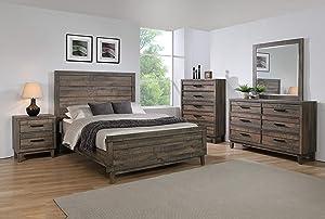 Esofastore Modern Rustic 5pc King Size Bed Dresser Mirror Nightstand Wooden Furniture Bedroom Set