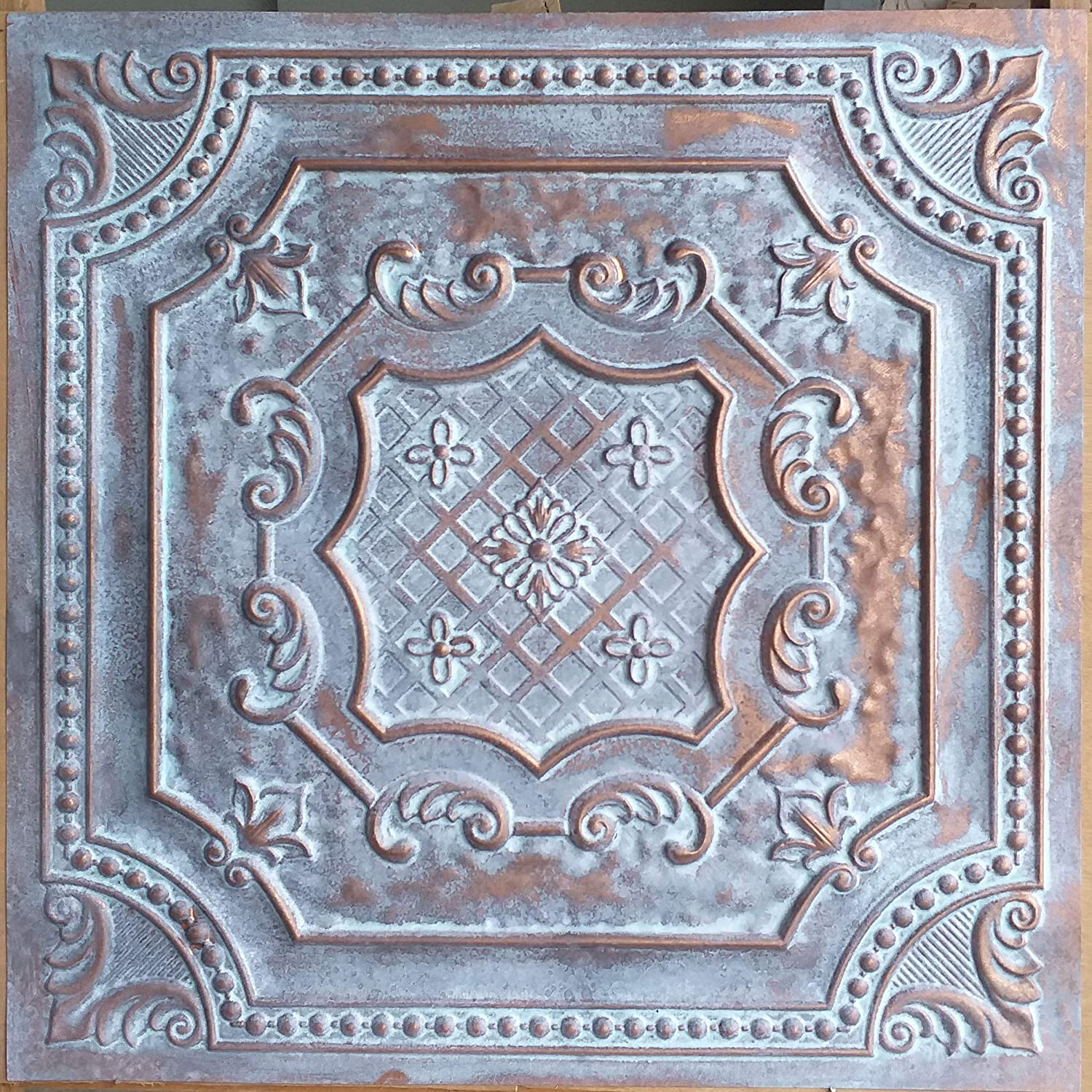 Drop in Ceiling Tile Easy to Install Suitable for Any Commercial or Residential Spaces. Pack of 10 TD04 Weathered Copper Faux Tin Glue up Great for DIY Projects Covers 40 sq.ft