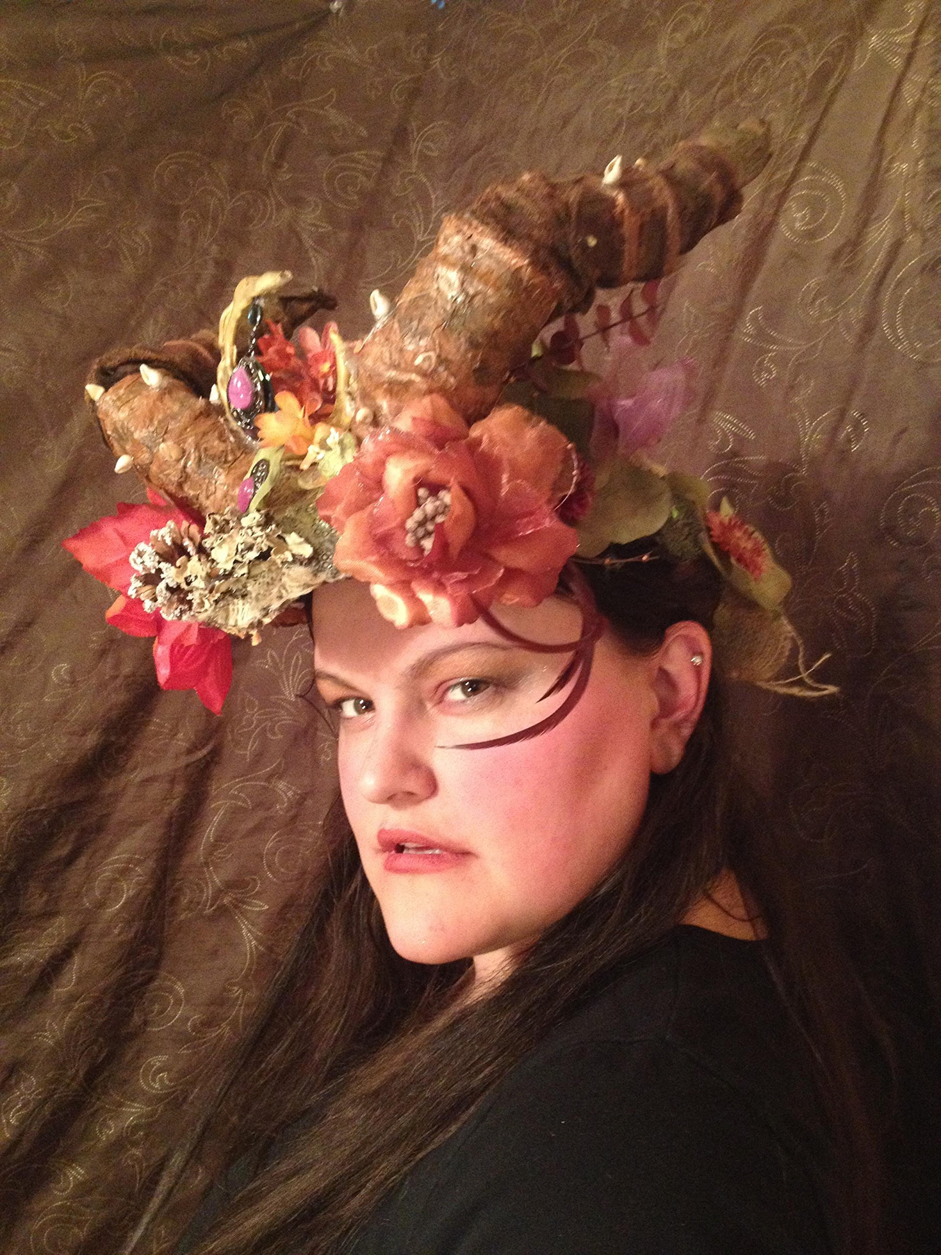 Beltane Fairy Headdress, pagan moon crown, May Queen Maypole magic, Woodland Elven flower headpiece, horned shaman costume, forest fae wear