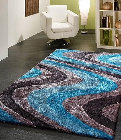 RUGADDICTION Hermosa Alfombra Color Gris y Azul hecha a mano Estilo moderno suave y lujosa ,