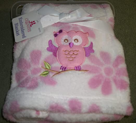Cute Embroidered Owl Soft Pink and White Baby Blanket