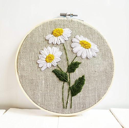 Amazon.com Daisy flowers embroidery hoop art Floral framed