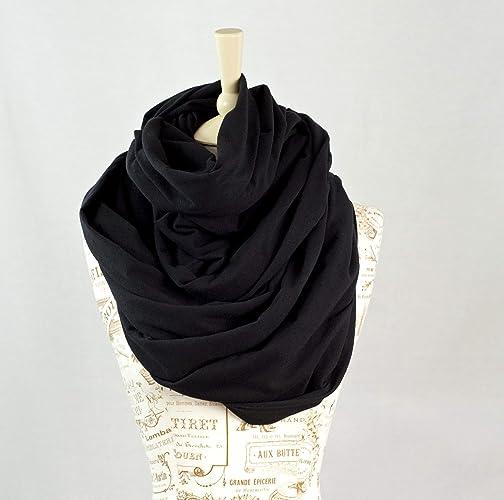 0d1d4209a Amazon.com: Chunky Oversized Jersey Infinity Scarf (Black): Handmade