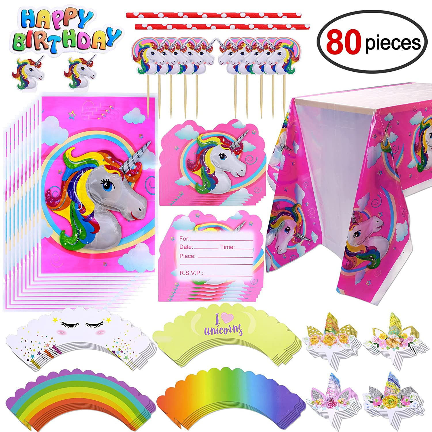 Konsait Unicornio cumpleaños Party Kit - Mantel, Topper de ...