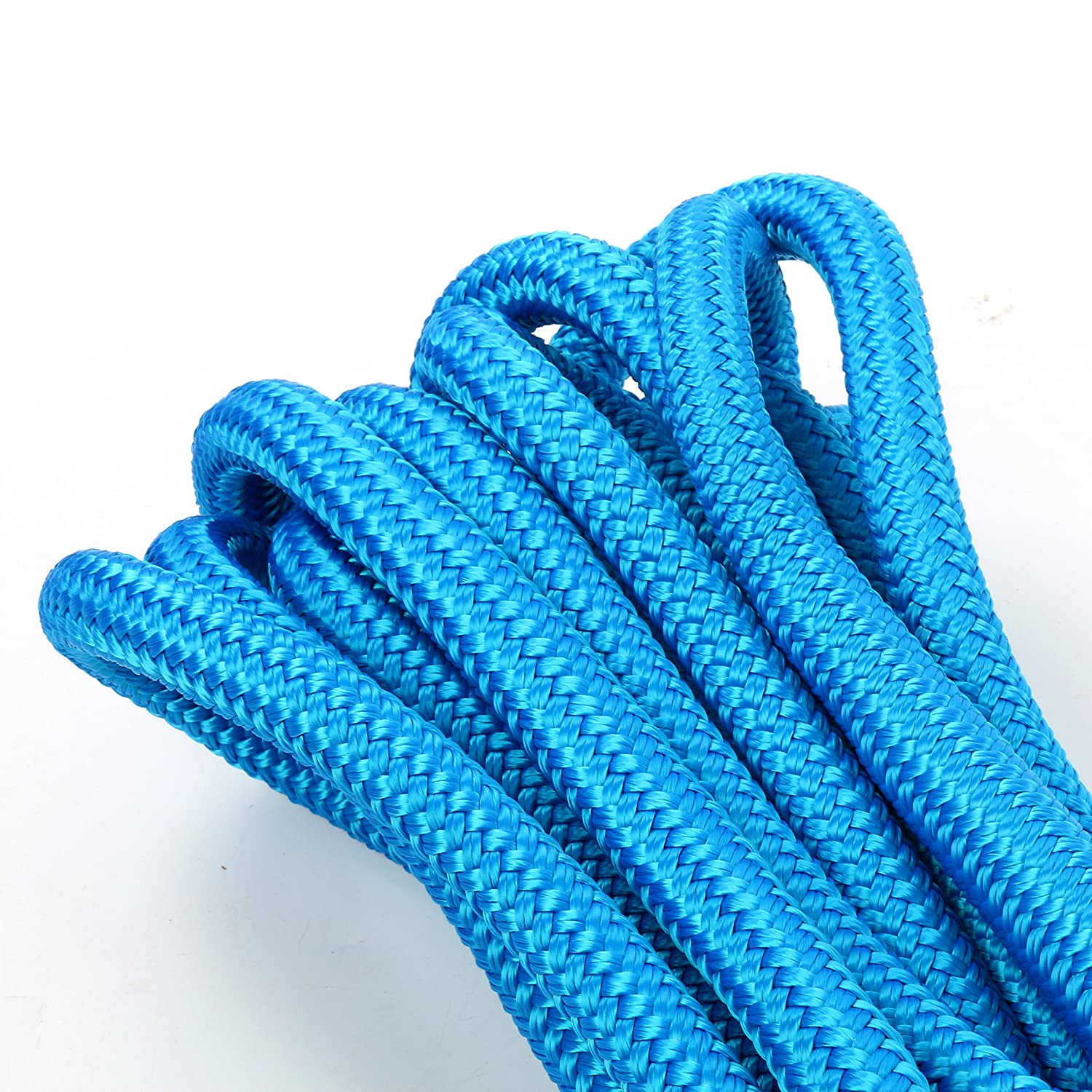 Color: Black Amarine Made 5//8 Inch 20 FT Double Braid Nylon Dockline Dock Line Mooring Rope Double Braided Dock Line White Blue
