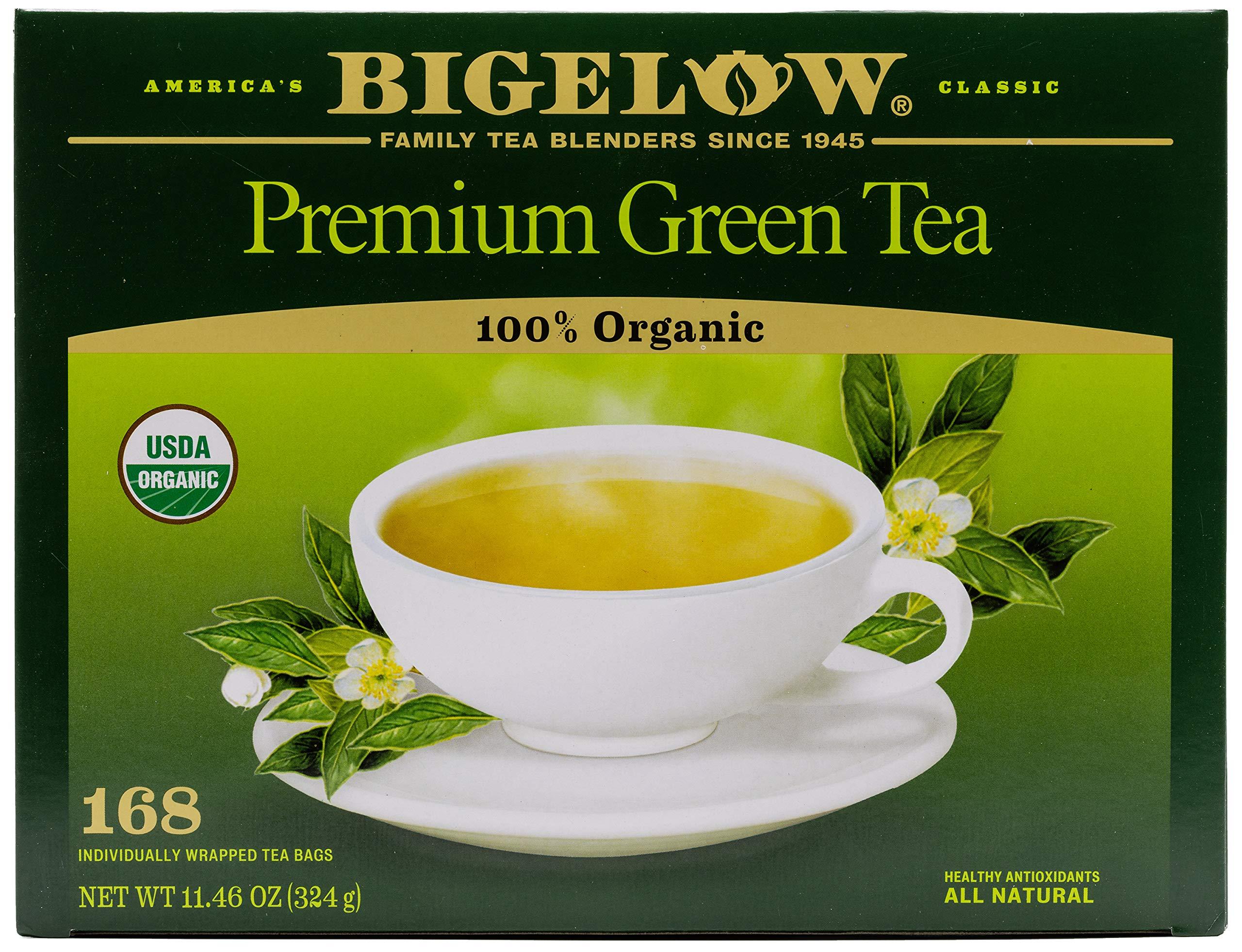 Bigelow Premium USDA Organic Green Tea Bags, 168 Count Box, Caffeinated Individual Green Tea Bags, for Hot Tea or Iced Tea, Drink Plain or Sweetened with Honey or Sugar by Bigelow Tea