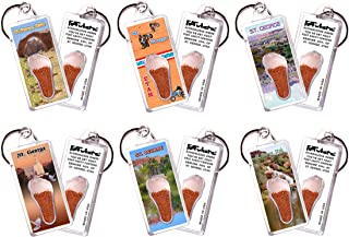 product image for St. George, UT FootWhere Souvenir Keychains. 6 Piece Set. Made in USA