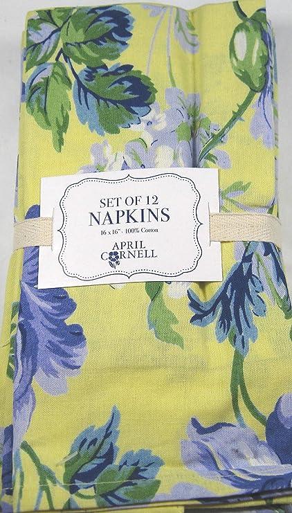 "April Cornell Napkins Set Of 4 Floral Black Green 16"" X 16"" 100/% Cotton New"