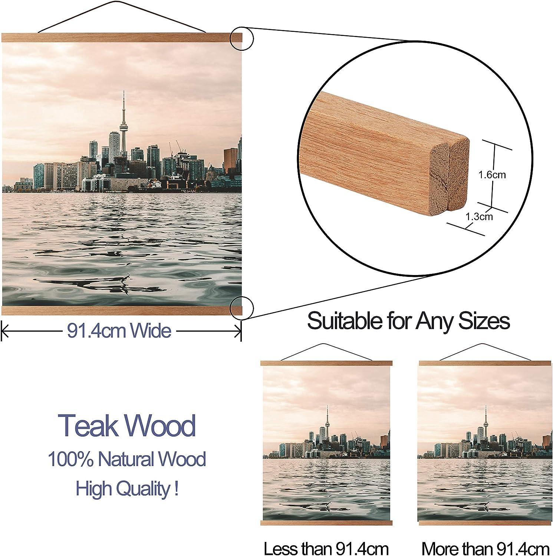 30cm,11.8,Colour Teak Magnetic Frames Wooden Poster Hanger Hanging Kit for Art Print or Canvas Artwork Light Wood ARTHOME A3 Teak Poster Frame