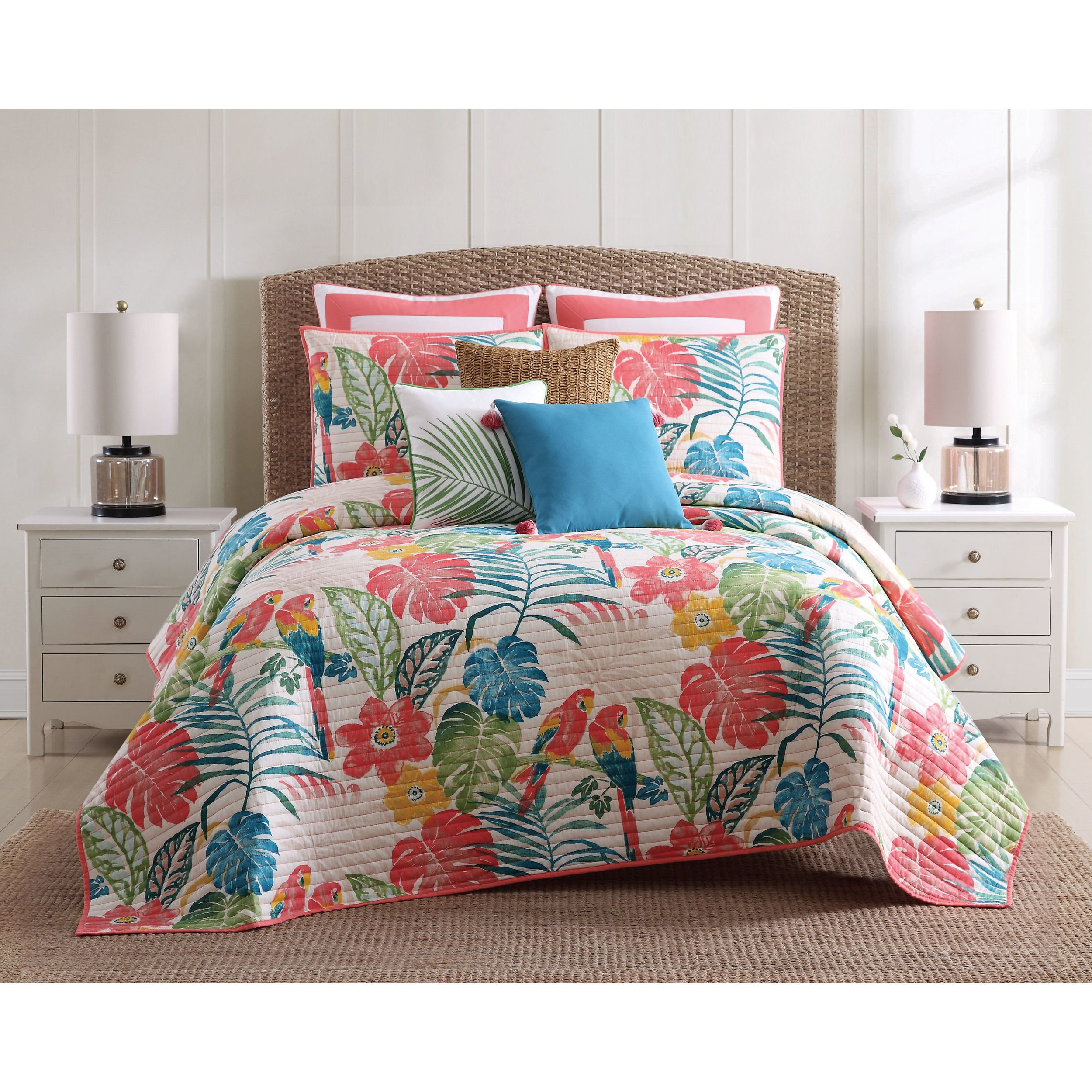 3 Piece Girls Colorful Tropical Quilt Full Queen Set, All Over Floral Parrot Tropics Bedding, Bright Vibrant Multi Color Flower Parrots Tropic Bird Themed Pattern Cotton, Pink Blue Green Yellow White
