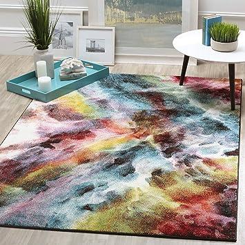 watercolor area rug. Galaxy Abstract Watercolor Area Rug, Bold Vibrant Milky Way Pride Themed, Rectangle Indoor Outdoor Rug