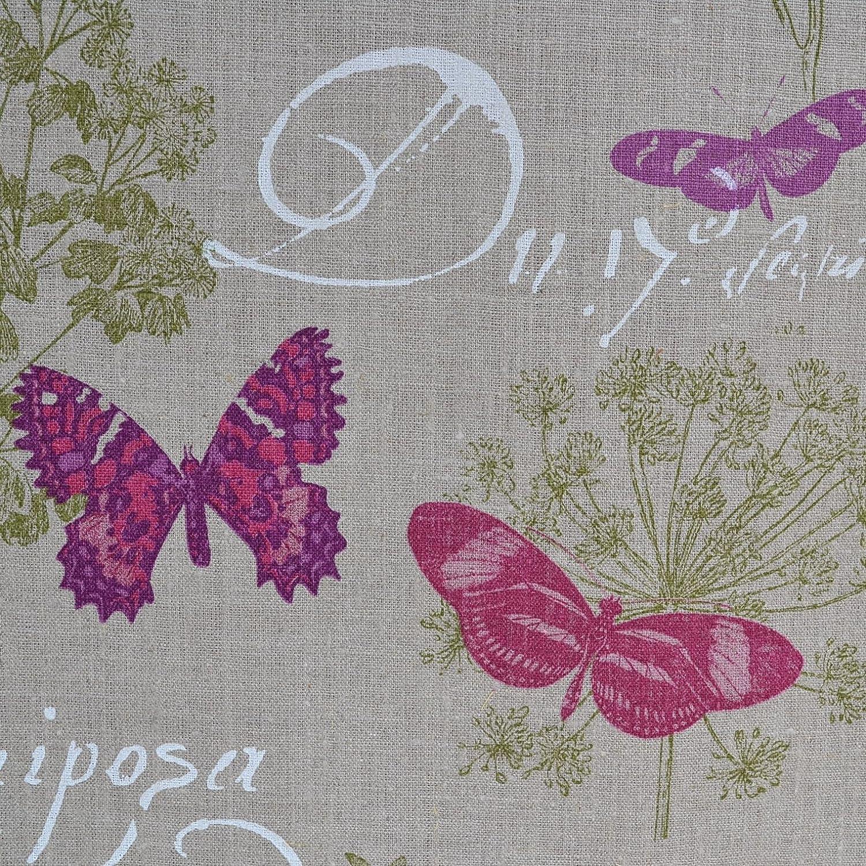 Tissu en lin imprimé - Papillon (Naturel) | 100% lin | Largeur ...