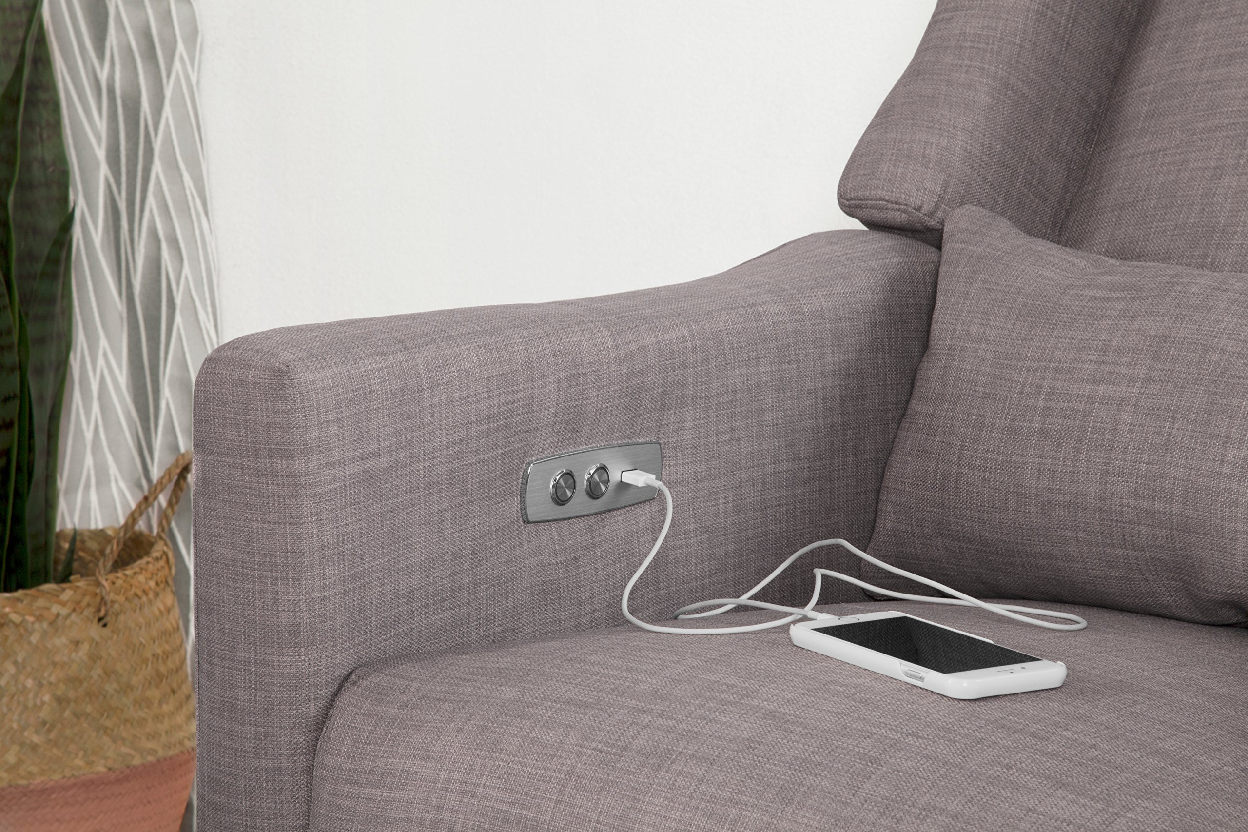 Babyletto Kiwi Electronic Recliner and Swivel Glider with USB Port, Grey Tweed by babyletto (Image #3)