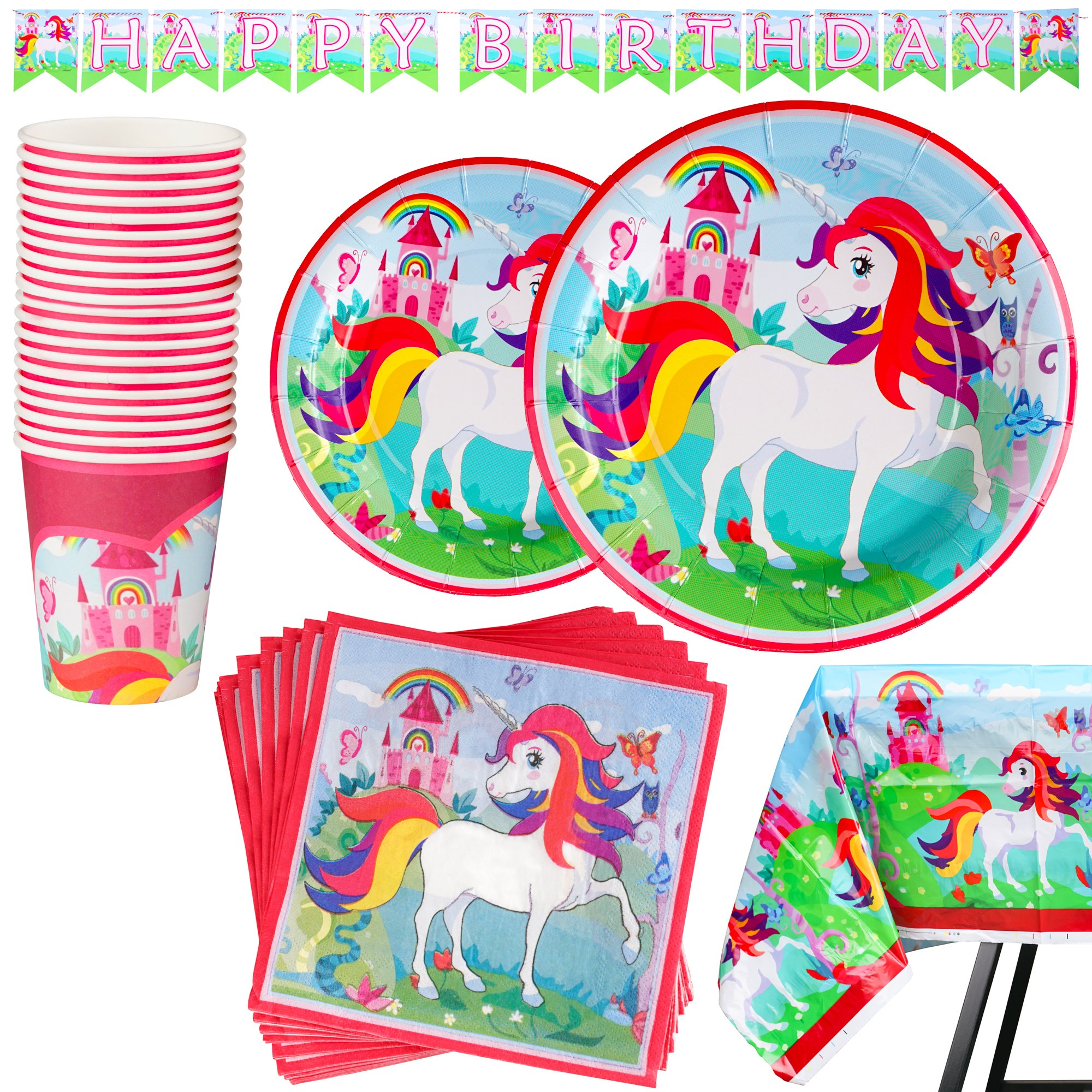 82 Piece Unicorn Party Supplies Set Including Banner, Plates, Cups, Napkins and Tablecloth, Serves 20 by Scale Rank (Image #1)