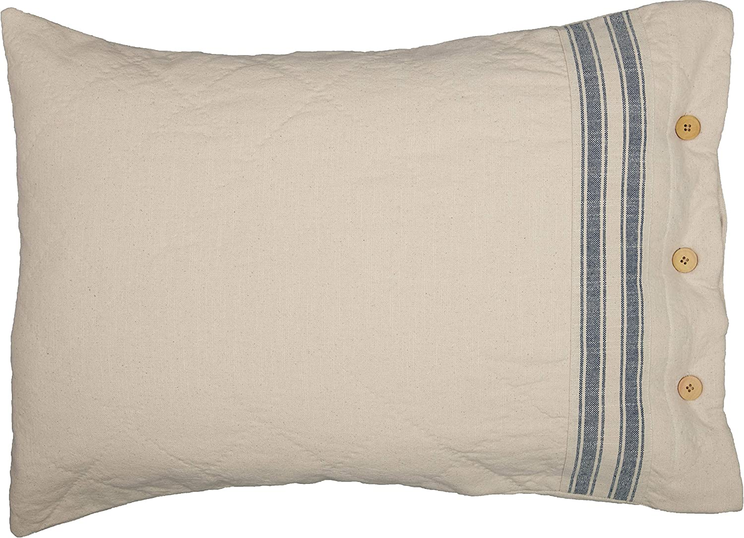 piper classics market place blue ticking stripe standard size pillow sham 21 x 27 farmhouse style bedding in blue and natural cream