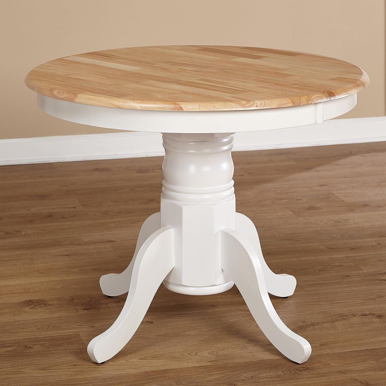 Farmhouse Rubberwood Round Pedestal Expandable Dining Table, Leaf Extension, Kitchen Table, BONUS E-book