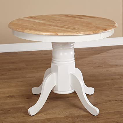 Amazoncom Farmhouse Rubberwood Round Pedestal Expandable Dining