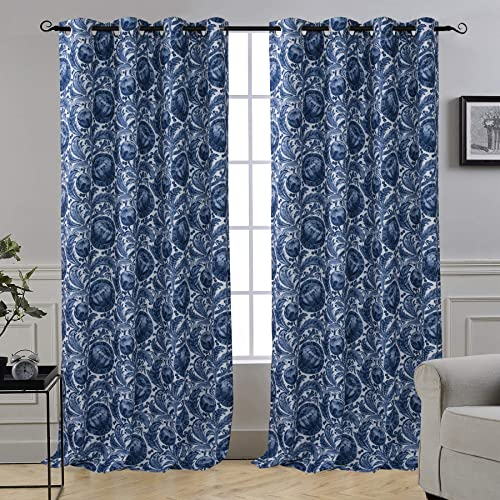 DriftAway Millie Watercolor Floral Botanical Pattern Lined Blackout Thermal Insulated Energy Saving Grommet Window Curtain for Living Room Bedroom 2 Panels 52 Inch by 84 Inch Navy