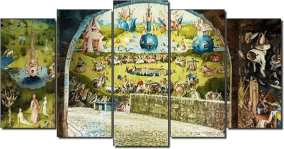 DekoArte 546 - Cuadros Modernos Impresión de Imagen Artística Digitalizada | Lienzo Decorativo para Salón o Dormitorio | Estilo Abstractos Arte El Bosco El Jardín De Las Delicias | 5 Piezas 150x80cm: Amazon.es: Hogar