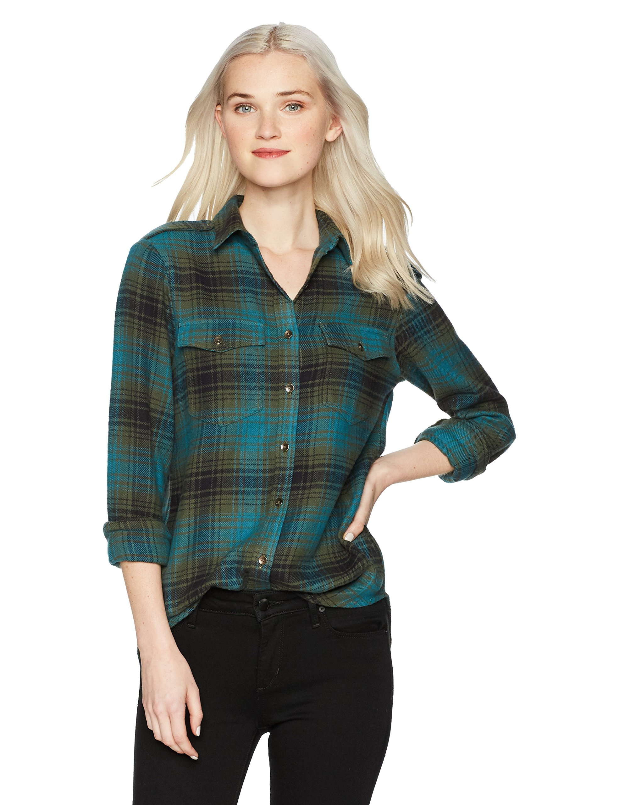 Billabong Women's Venture Out Plaid Top, Deep Marine, L