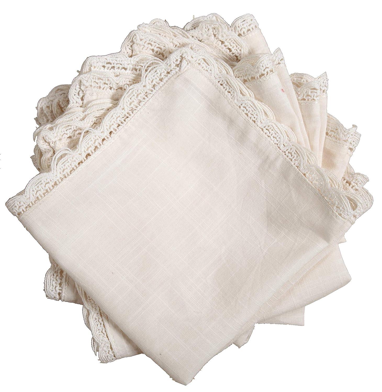 Slub Cotton Handkerchief with Crochet Edges Set of 6 - Off White