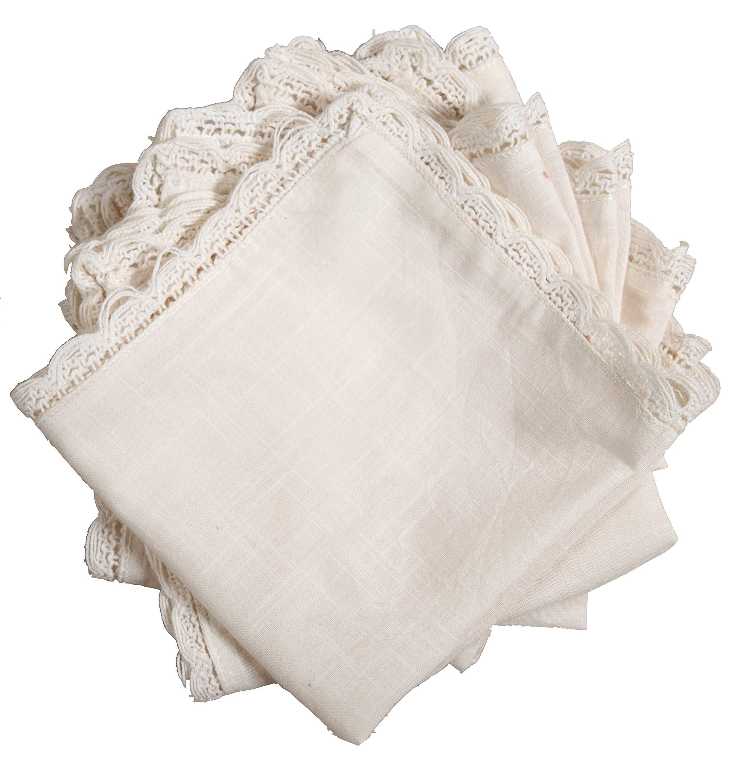 Linen Clubs Slub Cotton Handkerchief with Crochet Edges Set of 12 - Off White