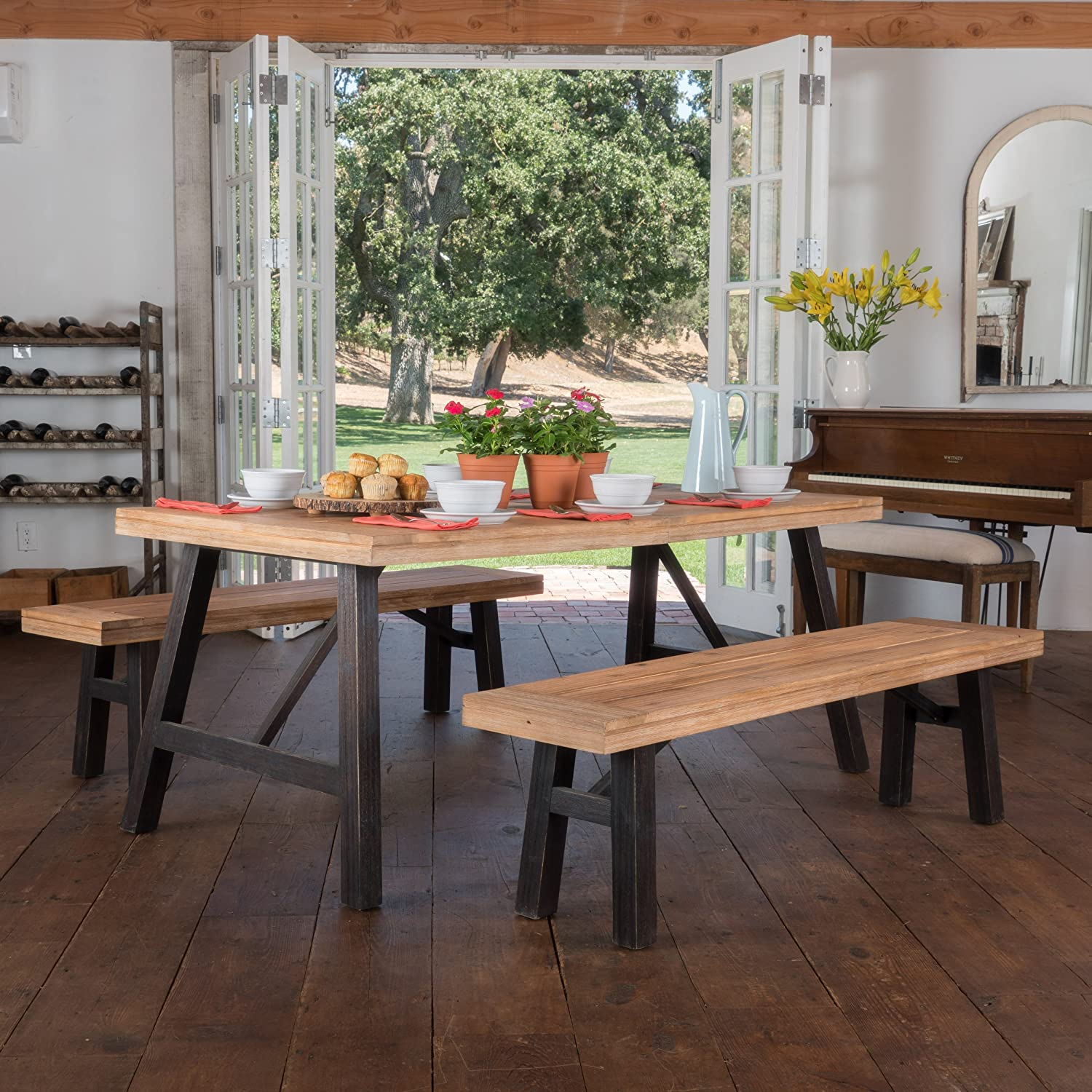 Christopher Knight Home Arlington Acacia Wood Dining Set in Brushed Grey, Color Natural Grain