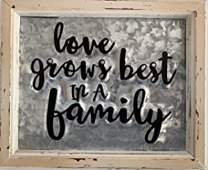 Enchante Wood Zinc Greeting Plaque - Family Signs for Home Decor, Rustic, Farmhouse Kitchen Wall Sign with Metal Inlay