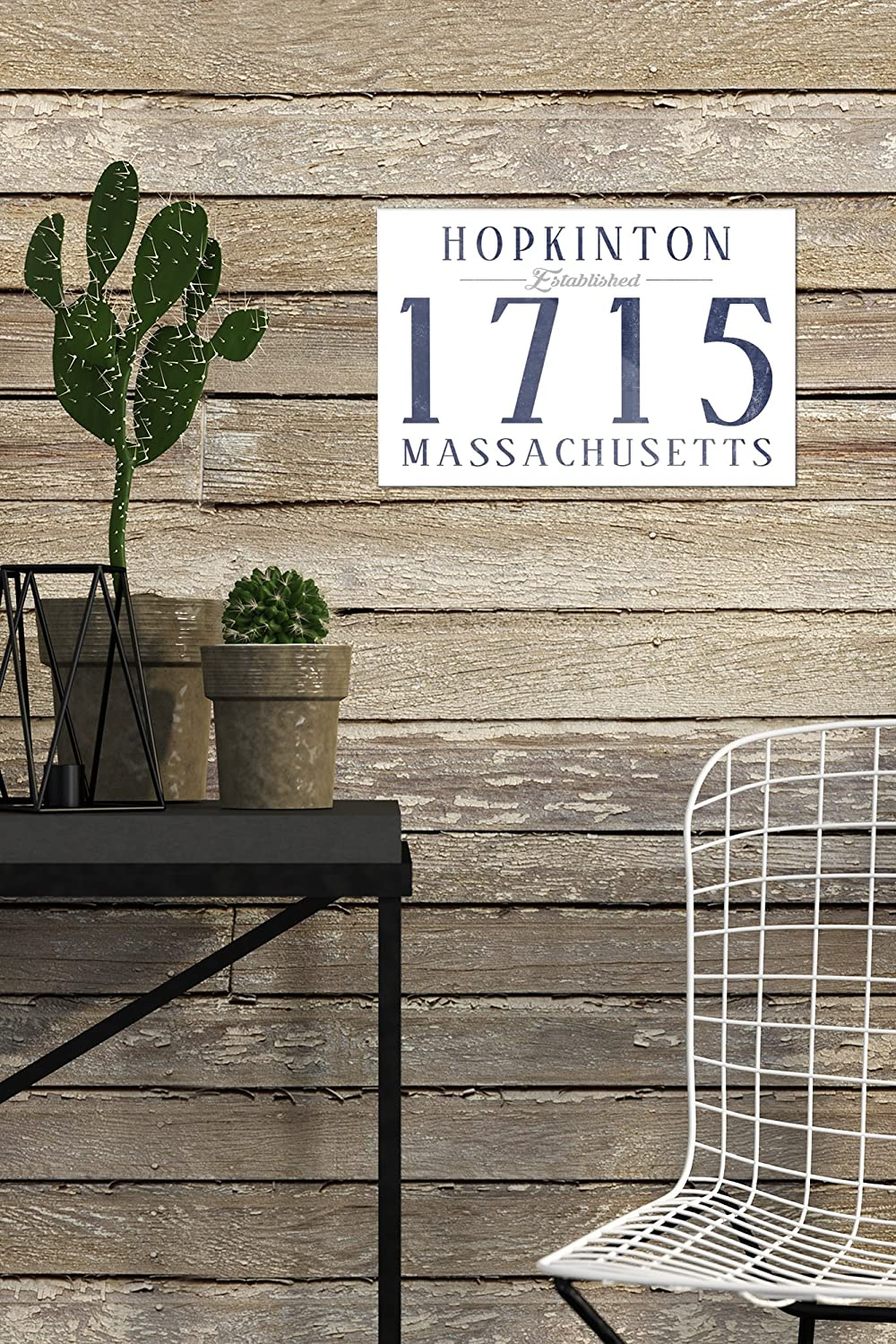 36x54 Giclee Gallery Print, Wall Decor Travel Poster Hopkinton Established Date Massachusetts