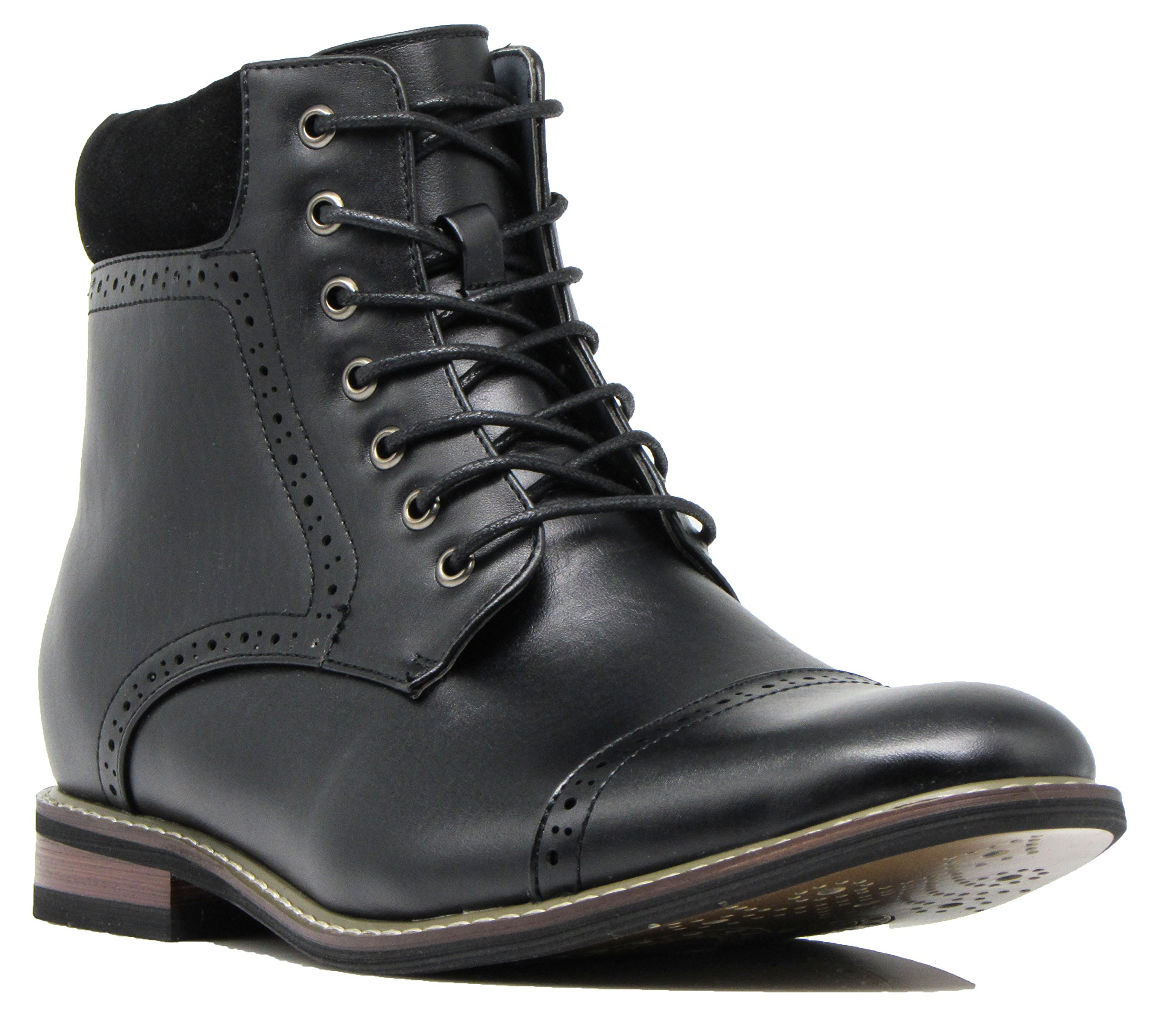 OTW4N Men's Chukka Ankle Dress Boots Captoe for Winter Lace Up Oxfords Boots (11 D(M) US, Black)