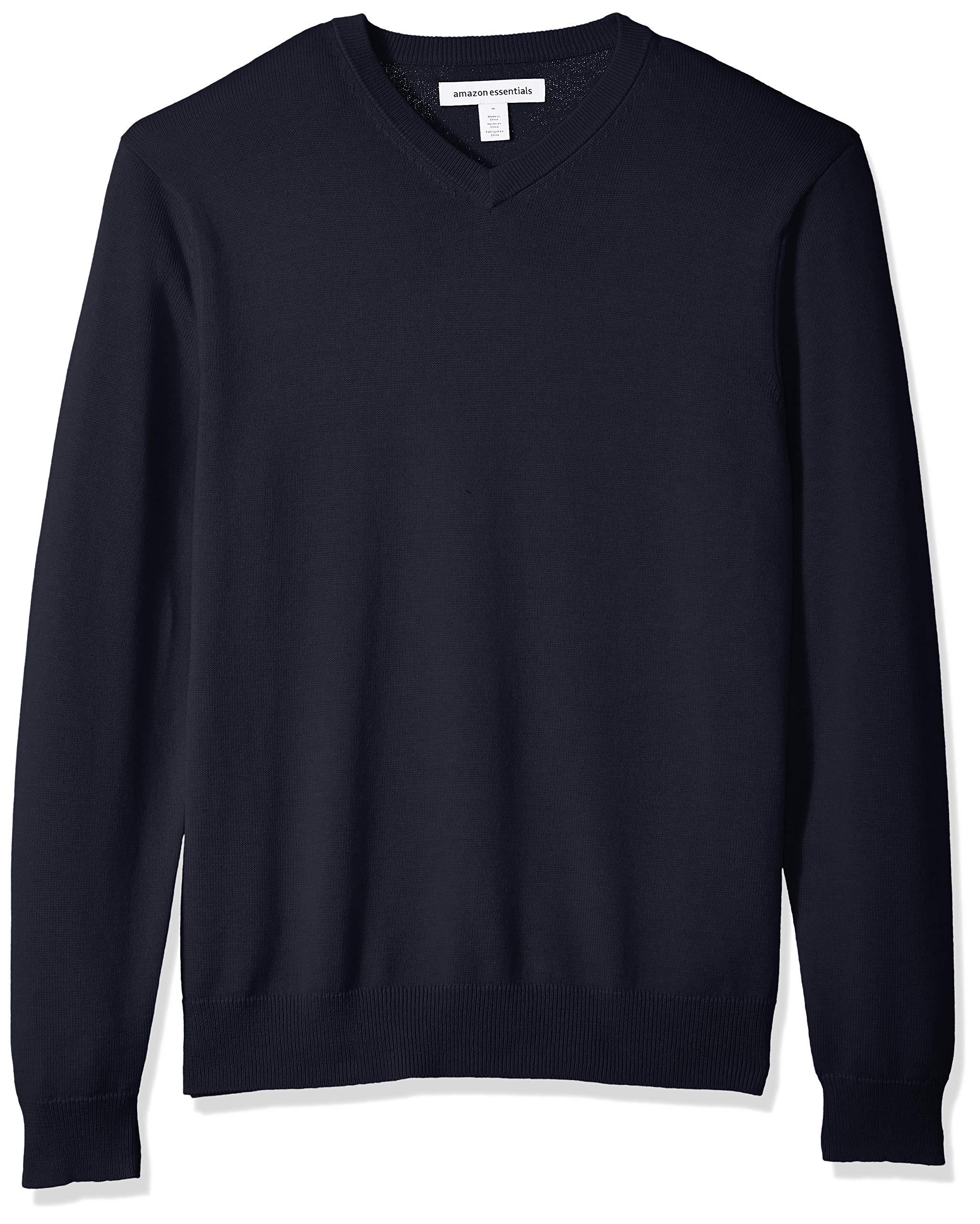 Amazon Essentials Men's V-Neck Sweater, Navy, Large