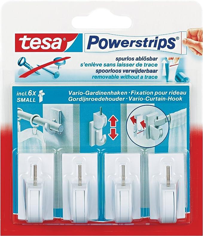 1 Pack tesa Powerstrips Gardinenhaken 58034 weiß 4 Stück