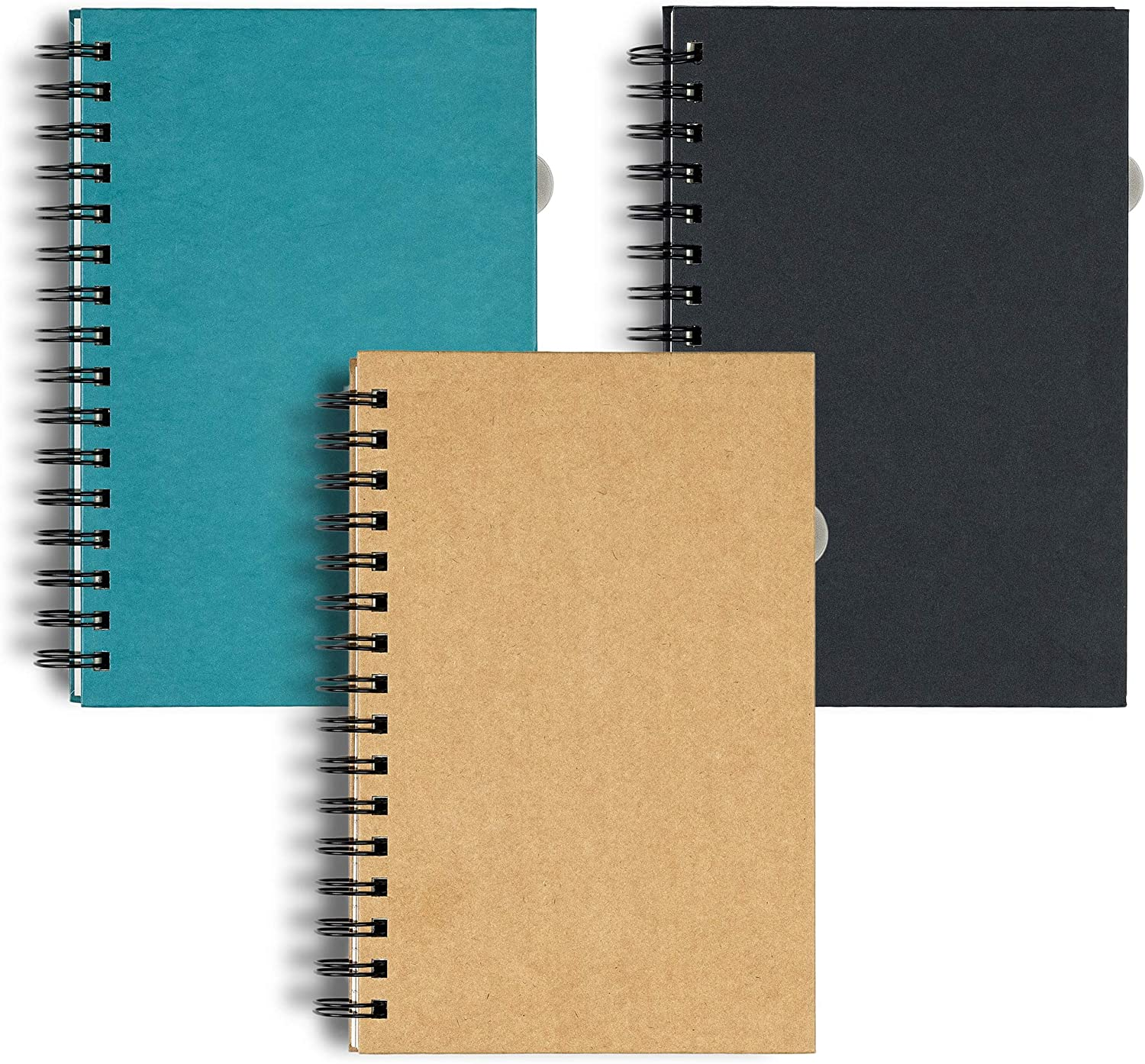 Hanote Spiral Notebook college ruled 5.5 x 8.5, 3-Subject, 120 Sheets / 240 Pages, Assorted Color (SET OF 3) Premium Lined Notebooks, Large Size Spiral Notebooks College Ruled For Men or Women.