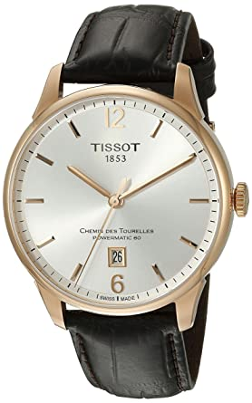 TISSOT , Montre Homme Tissot Chemin Des Tourelles Automatique  T0994073603700 Bracelet Cuir Marron , T0994073603700
