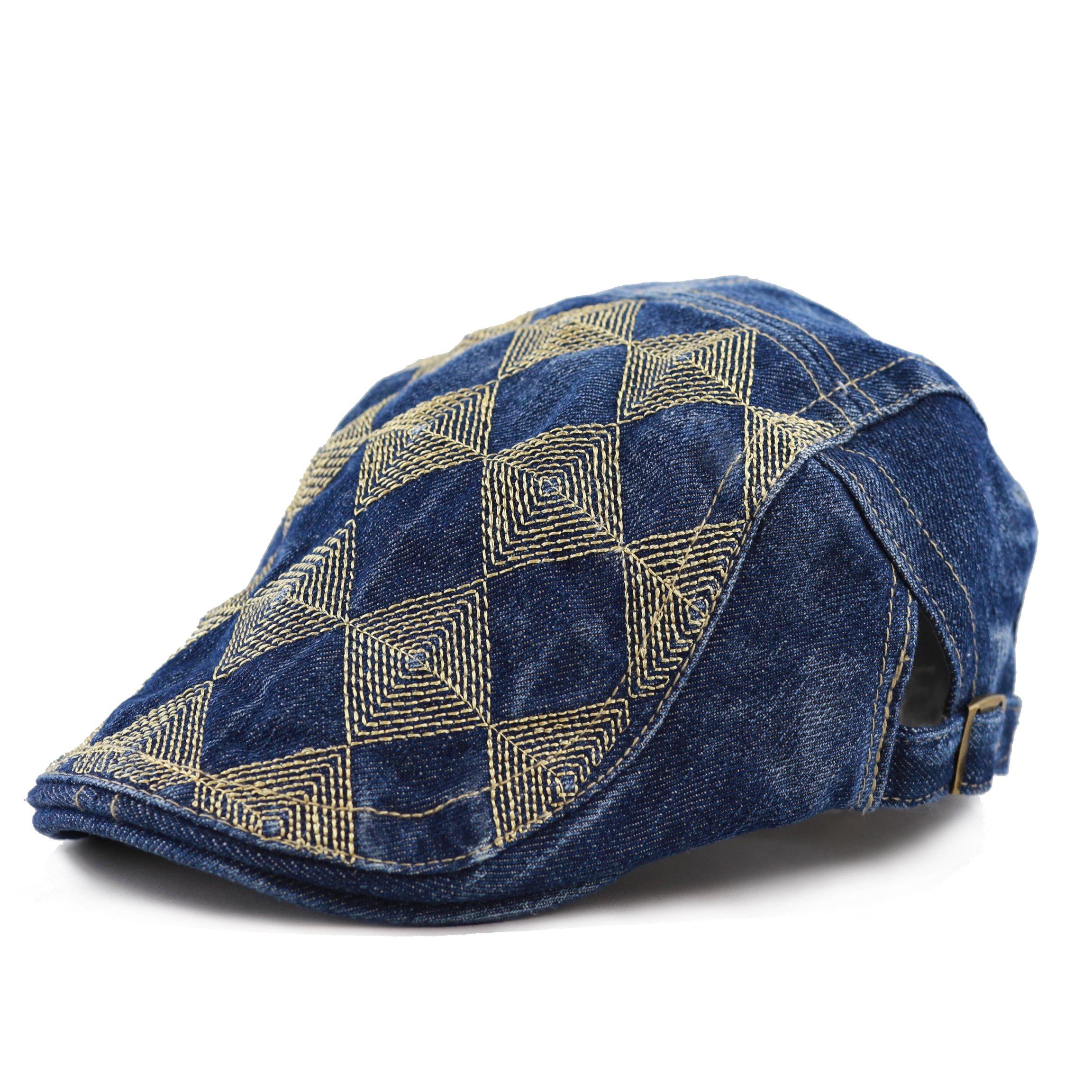 THE HAT DEPOT Variety Washed Denim Newsboy Ivy Style Hat (Denim blue16)