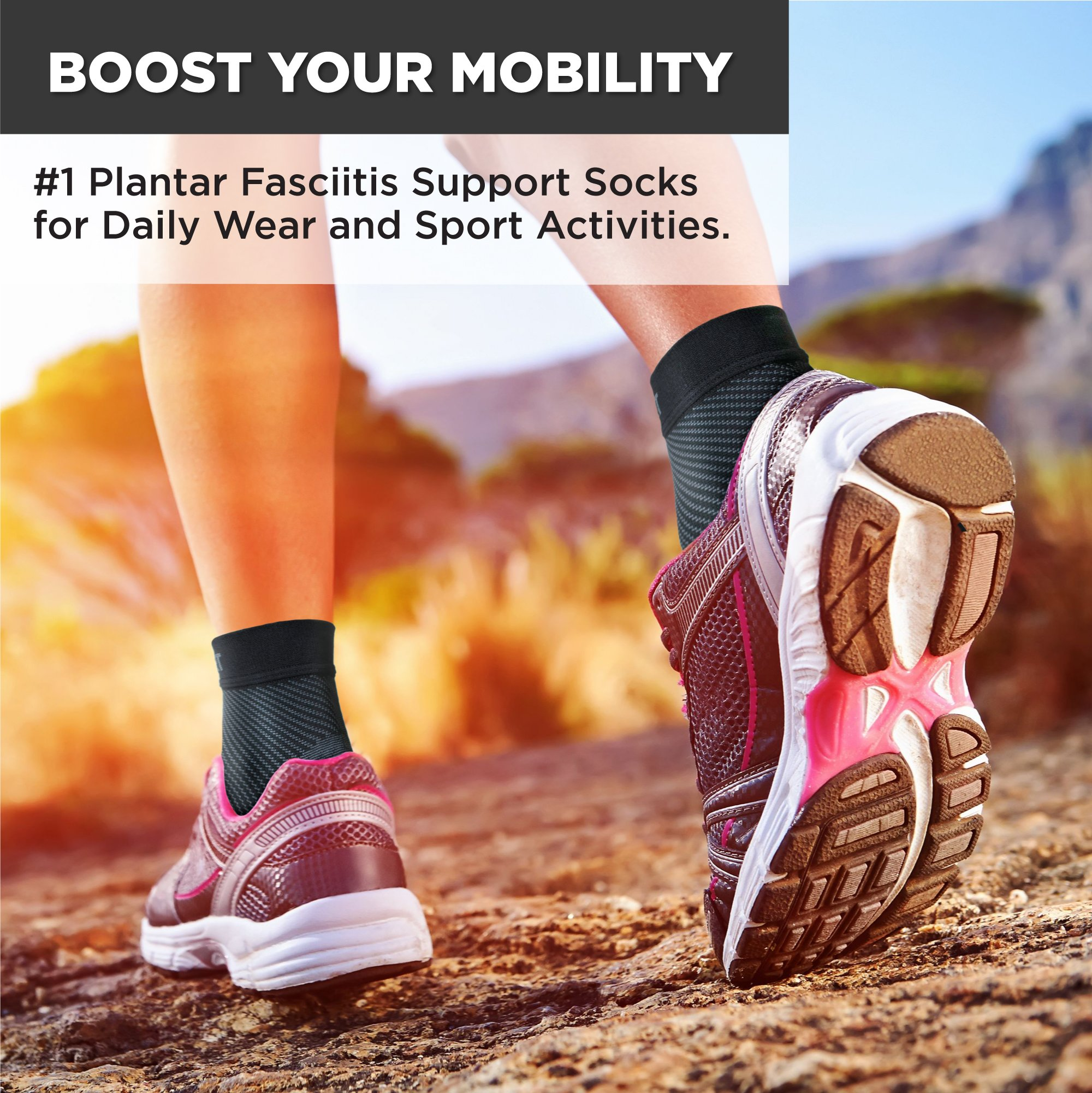 Plantar Fasciitis Socks for Men and Women - Foot Compression Sleeves for Arch Pain - Heel Spur - Achilles Tendon Pain - Foot Sweling by PURE SUPPORT by Pure Support (Image #2)