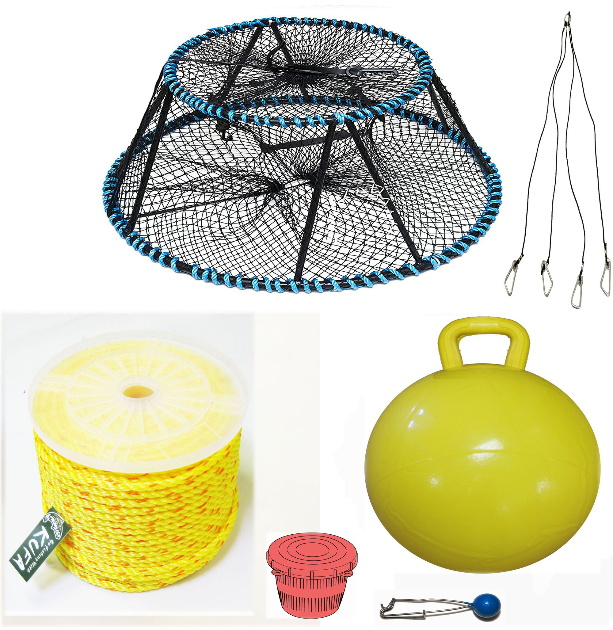 KUFA Sports Tower Style Prawn trap with 400' rope, Yellow float, Vented Bait Jar & Harness combo (CT130+PAS5+HA5)