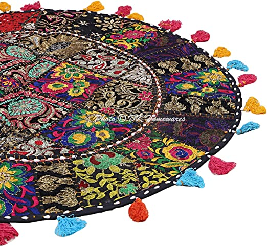 New Indian Patchwork Round Floor Cushion Cover Pillow Decor Bohemian Home Art