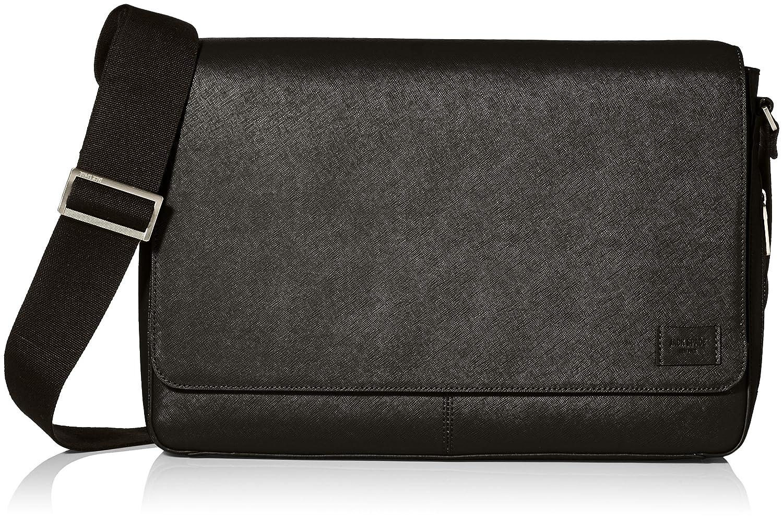 ジャックスペードMen 's Barrow Leather Messenger B01MT8K4VM ブラック One Size