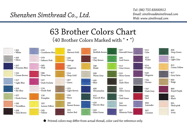 63 carretes de hilo Simthread, colores Brother, de poliéster 120 d/2 ...
