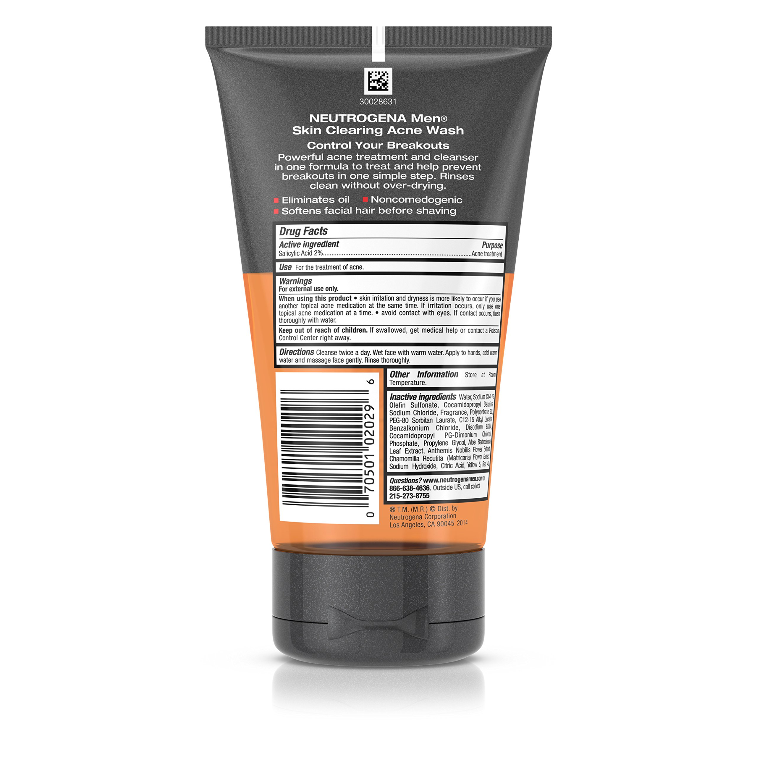 Neutrogena Men Skin Clearing Daily Acne Face Wash with Salicylic Acid Acne  Treatment, Non-Comedogenic Facial Cleanser to Treat & Prevent Breakouts, ...