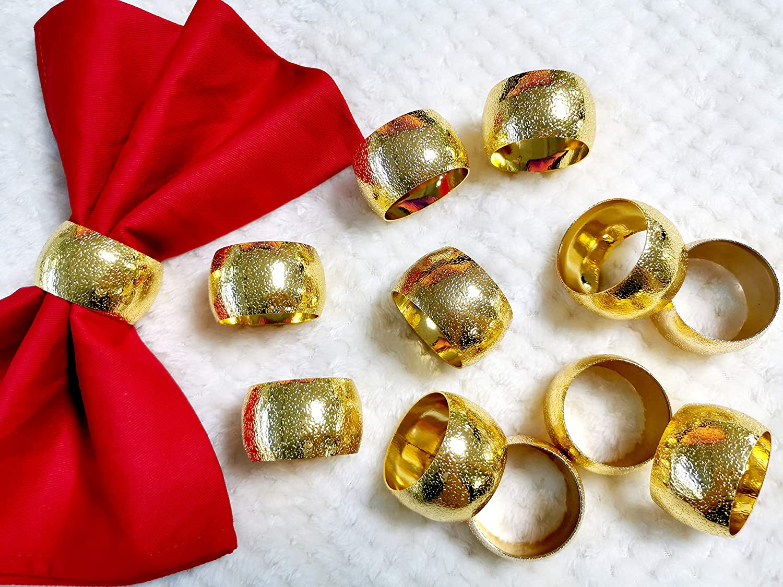 Getfitsoo Napkin Ring,Napkin Holder for Wedding Christmas Party Dinner Table Decor 12 Pcs (Gold ringlike)