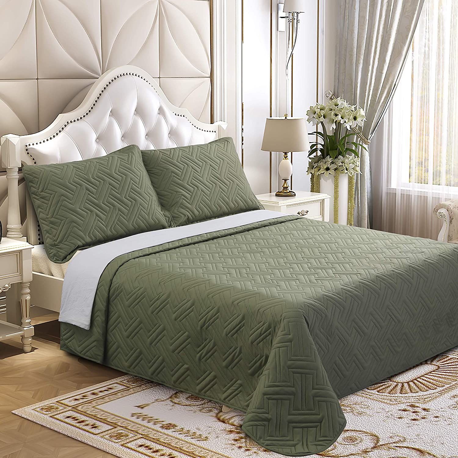Lorient Home Brushed Microfiber Embossed 3 Piece King Lightweight Quilt Set for Coverlet or Blanket Forest Green Bedding, Multi