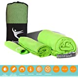 Microfiber Towels - Set of 3 - Antibacterial To Prevent Odors and Germs - Quick Dry Towel, Soft, Super Absorbent and Ultra Compact - Best for Camping, Sports, Travel and Beach - Free Carry Bag